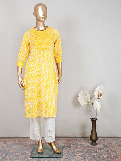 Yellow cotton pant style suit for festive