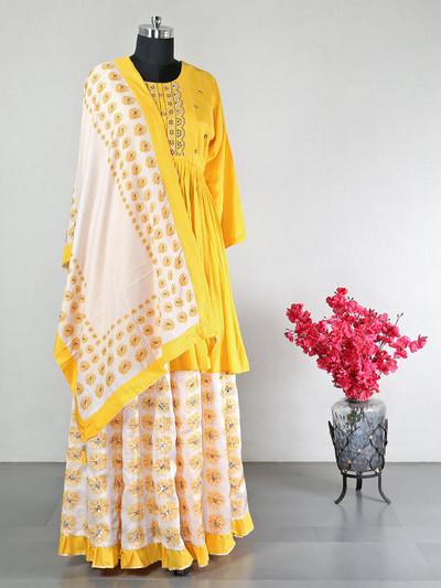 Yellow cotton party wear salwar kameez