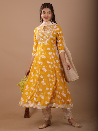 Yellow cotton printed festive functions pant suit
