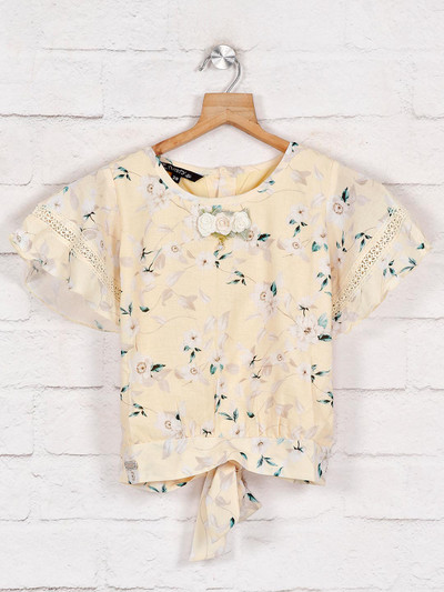 Yellow cotton printed style cotton top