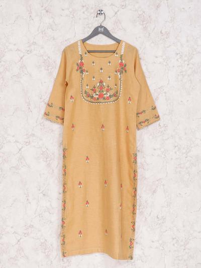 Yellow cotton round neck kurti