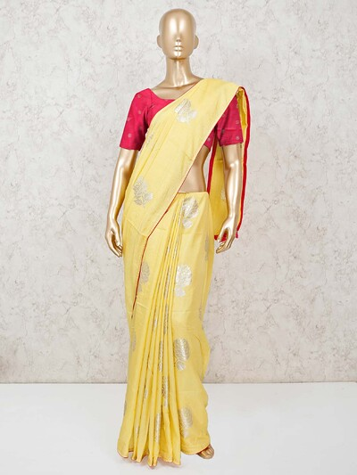 Yellow muga silk routine saree