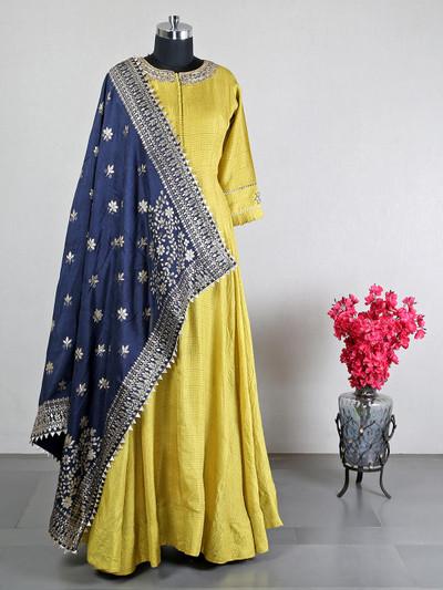 Yellow cotton silk anarkali suit for wedding