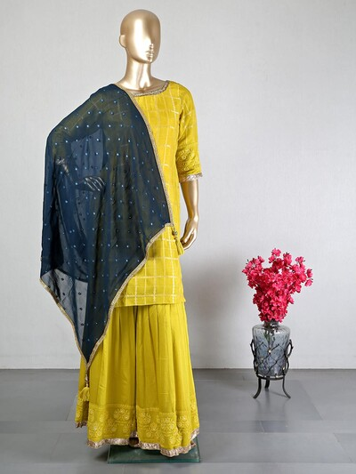 Yellow cotton silk festive and wedding wear