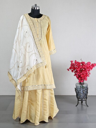 Yellow cotton silk lehenga style for wedding