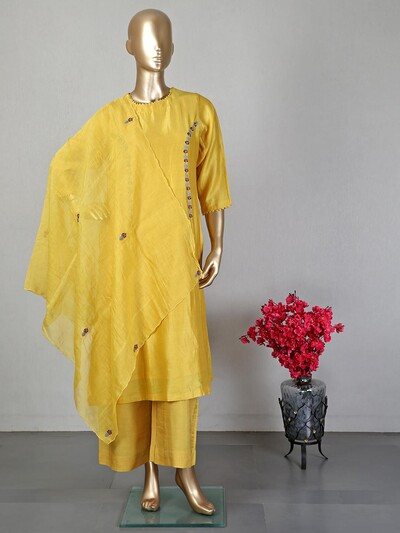 Yellow cotton silk pant suit for women