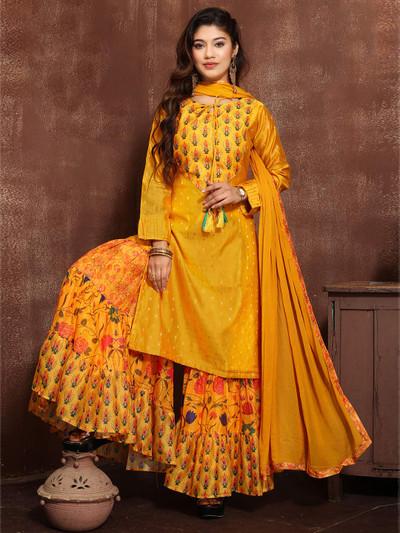 Yellow cotton silk printed punjabi style sharara suit