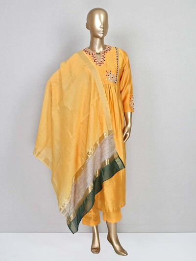 Yellow cotton silk salwar suit with pant style bottom