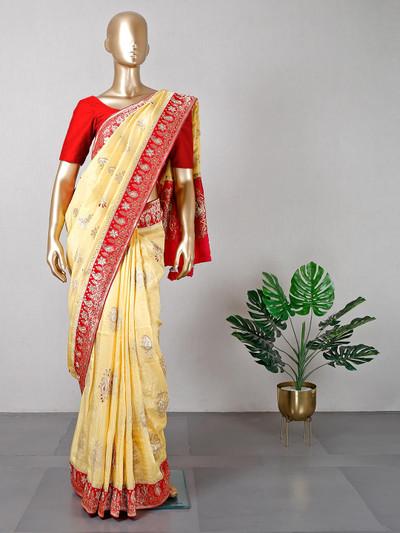 Yellow cotton silk wedding saree