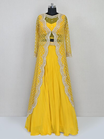 Yellow designer indo western silk salwar suit