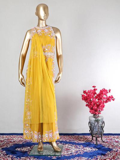 Yellow designer raw silk wedding wear salwar kameez