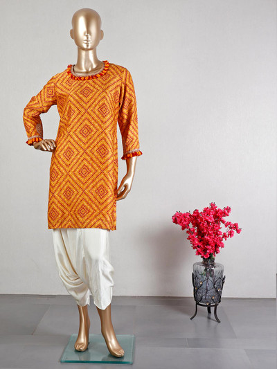 Yellow dhoti style salwar suit for women