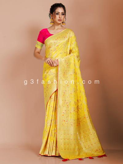 Yellow dola silk exclusive saree