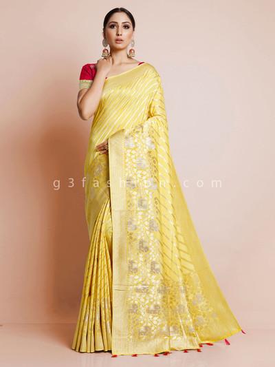 Yellow dola silk saree for wedding function