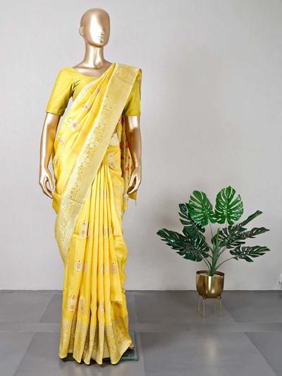 Yellow dola silk wedding saree