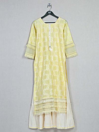 Yellow festive wear cotton kurti for women