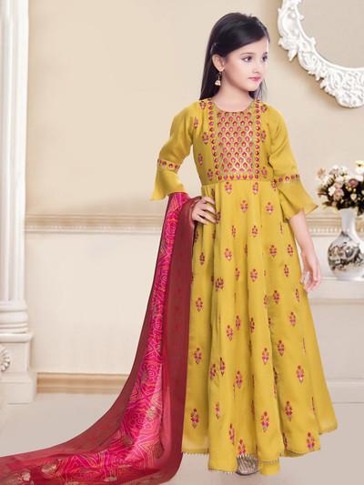 Yellow floor length anarkali suit for little princess