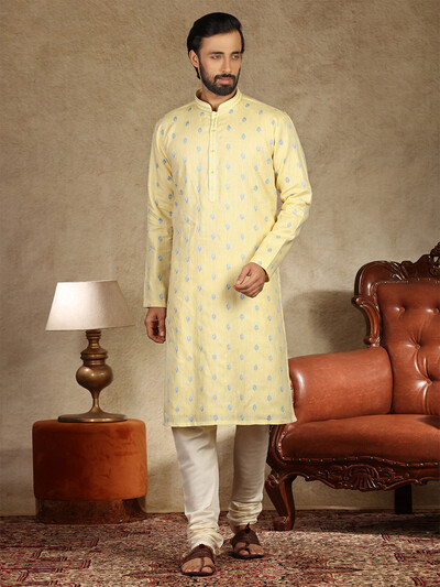 Yellow full sleeves pure linen kurta suit for festive