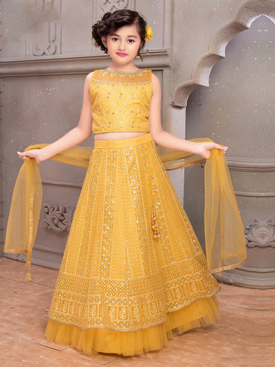 Yellow georgette designer lehenga choli for wedding