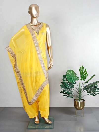 Yellow georgette patiala suit for wedding