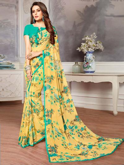 Yellow georgette printed design saree