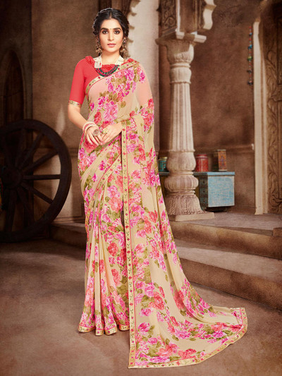 Yellow georgette saree in printed
