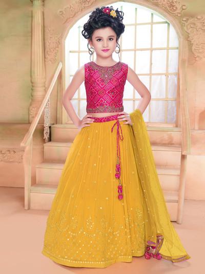 Yellow georgette special for wedding lehenga choli