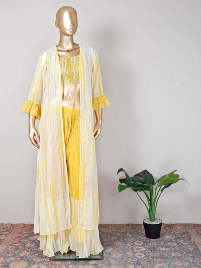 Yellow georgette wedding occasions palazzo suit