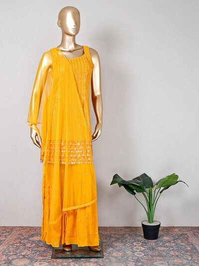 Yellow georgette wedding sharara suit
