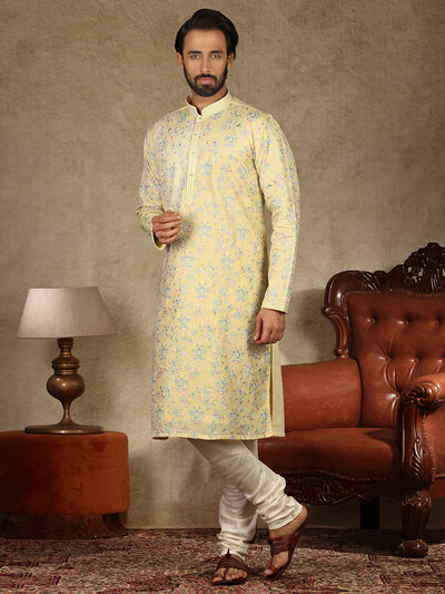Yellow linen kurta suit for festive