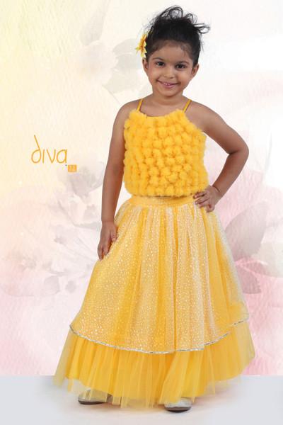Yellow net beautiful lehenga choli
