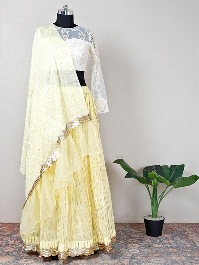 Yellow net gorgeous wedding lehenga choli