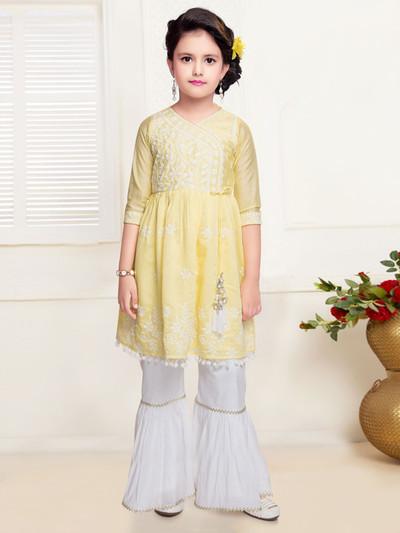 Yellow pinjabi sharara suit for girls in cotton silk