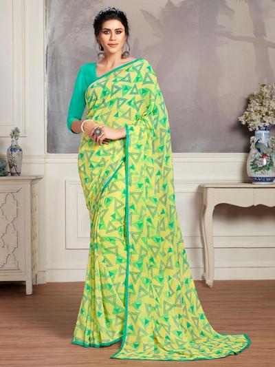 Yellow print festive wear saree in georgette for women