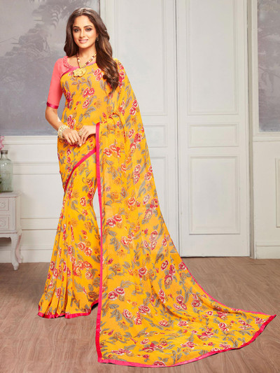 Yellow printed georgette saree for festivals