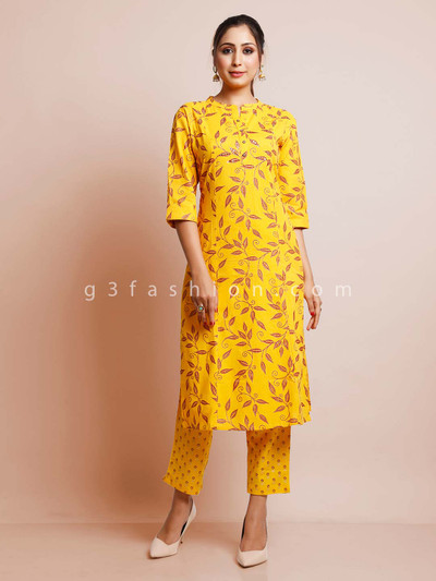 Yellow printed pant suit for festive in cotton