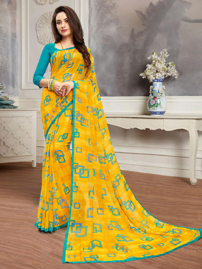 Yellow printed saree in georgette for festive occasions