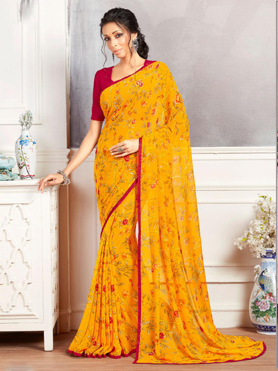 Yellow printed saree in georgette for women