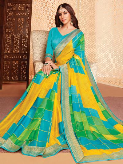 Yellow printed saree with zari border in georgette