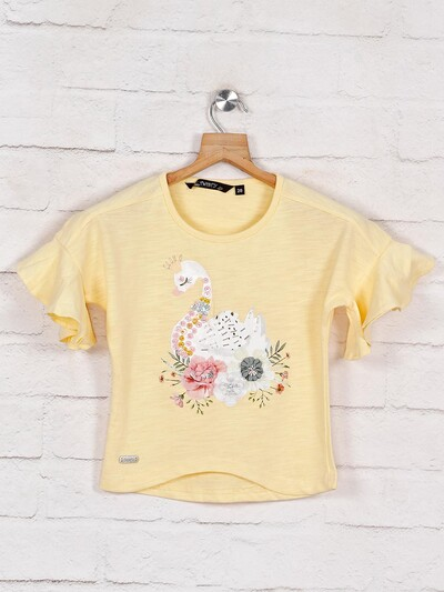 Yellow printed top for girls