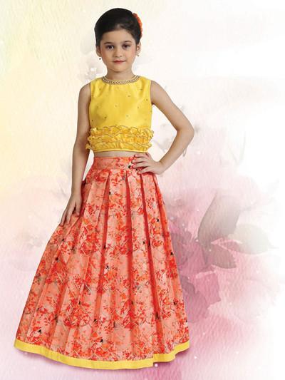 Yellow raw silk lehenga choli for girls