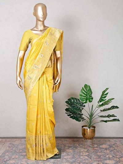 Yellow raw silk saree for wedding