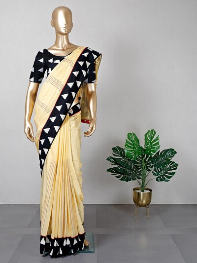 Yellow saree in cotton for festive look