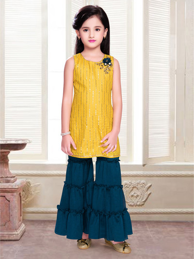 Yellow sharara suit with aabla work