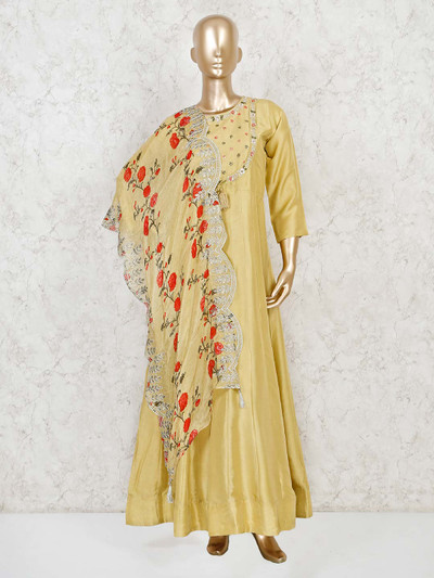 Yellow silk anarkali suit with floral printed dupatta