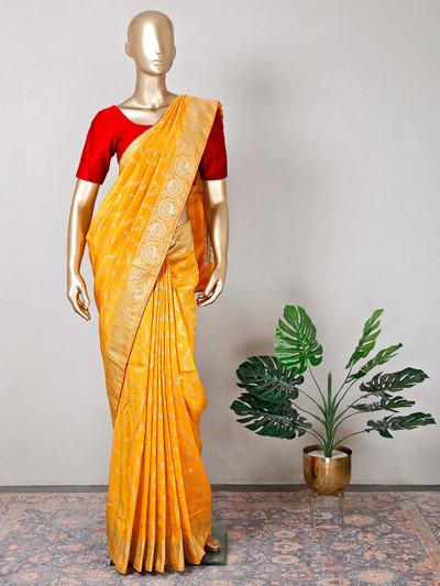 Yellow silk beautiful festive saree for women