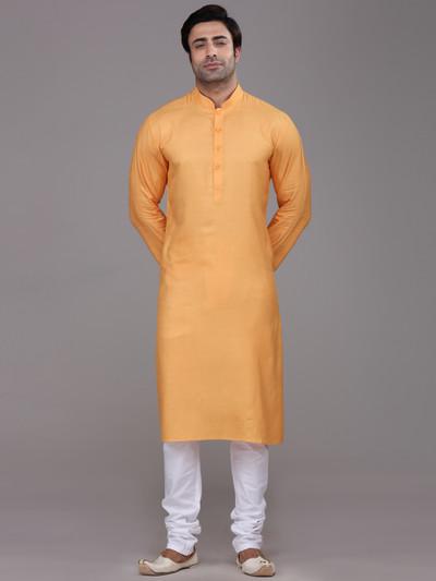 Orange silk farbic festive wear kurta suit