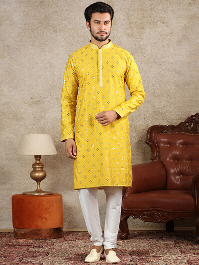 Yellow silk festive wear kurta suit