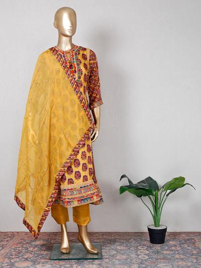 Yellow silk festive wear pant suit
