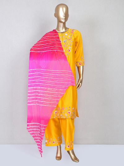 Yellow silk pant style salwar suit for festive